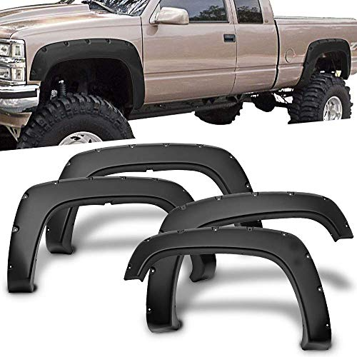 Free-Motor802 Fender Flares Fits 1988-1998 Chevy C1500 K1500 | Pocket Rivet Style 4PC PP Wheel Cover Protector ()