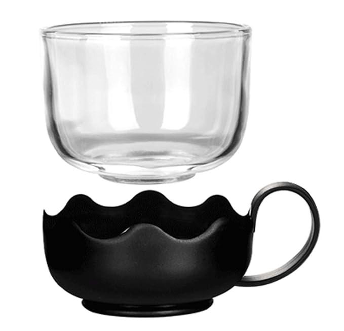 Lawei 700 ml, con infusor de acero inoxidable resistente al calor, para t/é y caf/é suelto Juego de tetera de cristal con 4 vasos