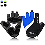 Cycling Gloves (Half Finger&Full Finger) – TRIDEER Ultra Light Breathable Lycra & Anti-Slip Shock - Absorbing Silica Gel Grip, Mountain Road Gloves Biking Gloves Men/Women (Black&White&Blue, S)