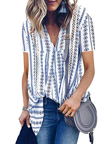 (WLLW Women Bohemian Short Sleeve V Neck Floral Print Peplum Shirt Top Blouse Tee (XXL, 3Blue))