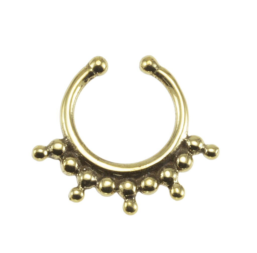 Brass Bohemian Beads Design Fake Septum Ring - 7mm (0.3'') Inner Hoop with Adjustable Opening by Street Habit Jewelry
