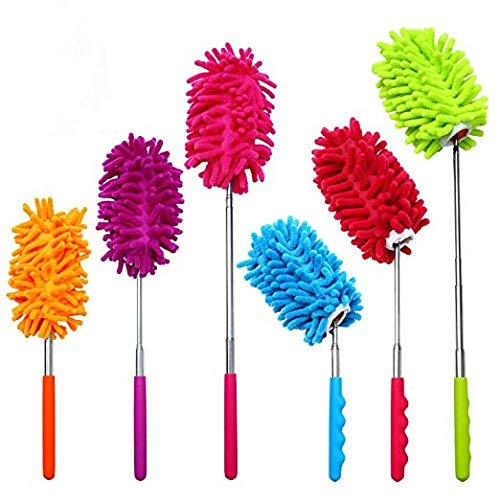 6 Pack Microfiber Bendable Extendable Dusters Brush Washable Dusting Brush with Telescoping Pole for Home Office Car, 3 Bendable and 3 Straight KisSealed 102