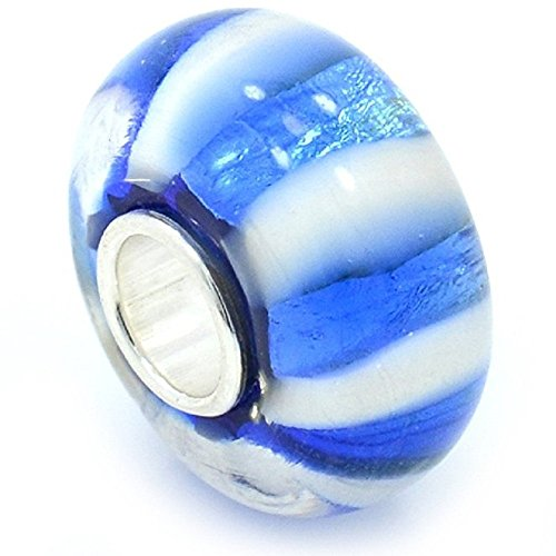 Pro Jewelry 925 Solid Sterling Silver White and Metallic Blue Striped Glass Charm Bead (Sterling Silver Detroit Tigers Charm)