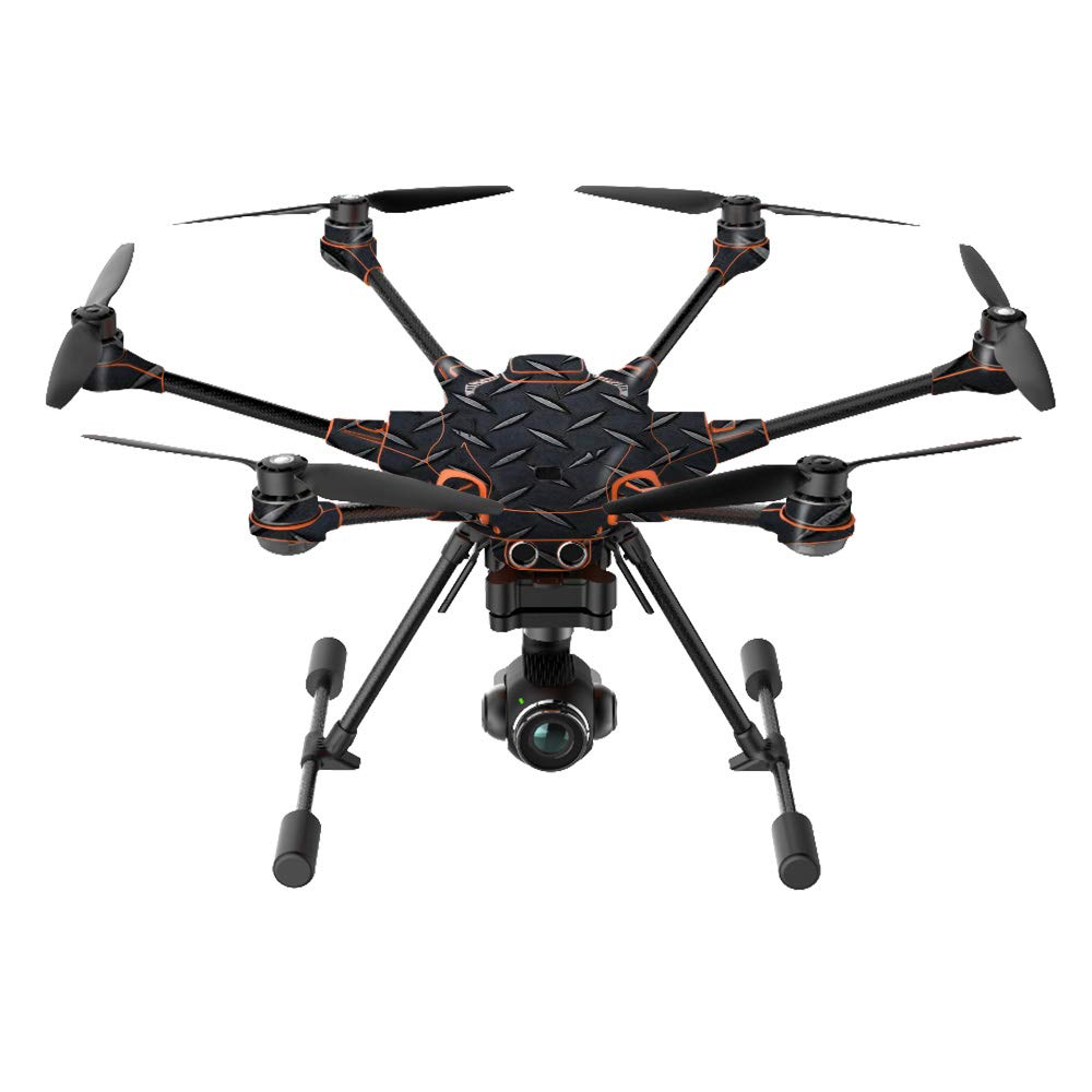 MightySkins Skin Compatible with Yuneec H520-G Quadcopter Drone - Black Diamond Plate | Protective, Durable, and Unique Vinyl wrap Cover | Easy to Apply, Remove, and Change Styles | Made in The USA