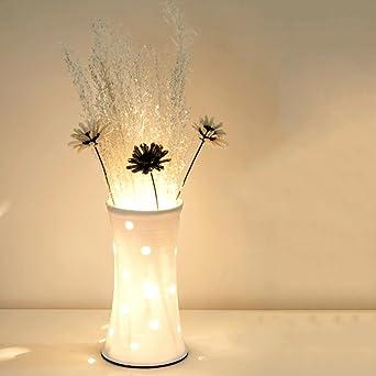 WOQU® Tischlampe Weiß Blumen Arrangement Mode Schlafzimmer Nachttischlampe  Einfach Dekoration Keramik DIY Wohnzimmer Studie