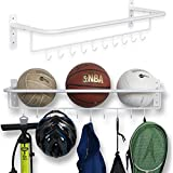 Wall Mount Sports Ball Rack Storage Bar Rail With Hooks Set of 2 White Garage Organizer