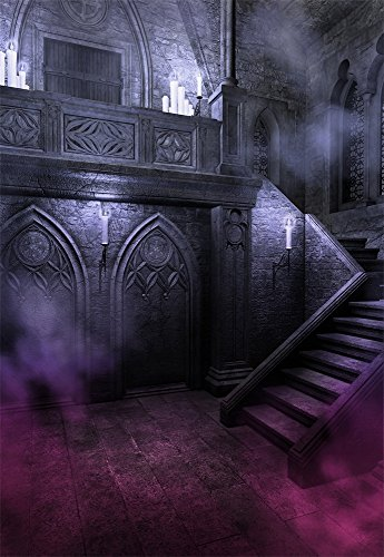 Laeacco 5X7FT Vinyl Backdrop Thin Photography Background Retro Gloomy Dense Fog Halloween Candle Stairs Scary Outdoors Children Kids Adults Portraits Backdrop 1.5(W) X2.2(H) M Photo Studio -