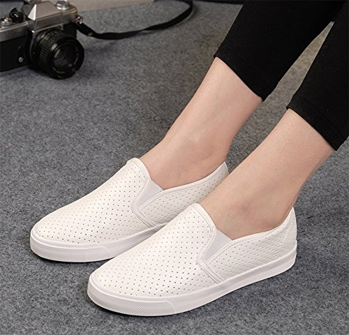 CHFSO Womens Mesh Pu Sports Athletic Sneakers Shoes Loafers White FoX2FP