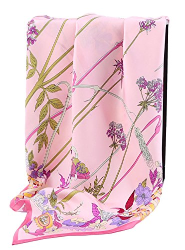 Rolled Edge Veil - Grace Scarves 100% Silk Scarf With Hand Rolled Edges, Large, Floral Elegance, Pink