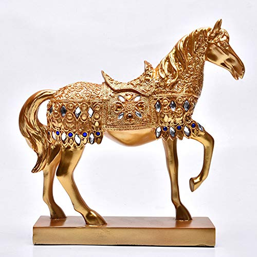 (YJF Resin Golden Standing Horse Statue for Home Decor Animal Ornament Sculpture)