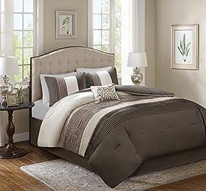 Comfort Spaces – Windsor Comforter Set- 5 Piece – Khaki, Brown, Ivory – Pintuck pattern – Full/Queen size, includes 1 Comforter, 2 Shams, 1 Decorative Pillow, 1 Bed Skirt