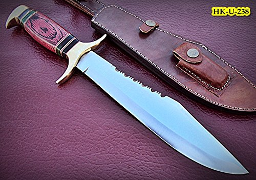 REG-HK-U-238, Custom Handmade 440C Stainless Steel 15 Inches Hunting Knife - Beautiful Doller Sheet Handle with Brass - Hk Shop Custom