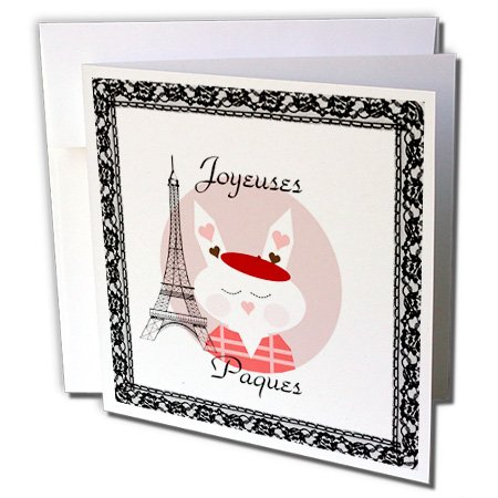 Florene Holiday - Image of Happy Easter In French With Eiffel Tower And Bunny - 12 Greeting Cards with envelopes (gc_235446_2)