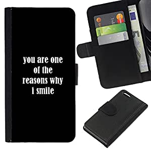 KingStore / Leather Etui en cuir / Apple Iphone 5C / Razones Sonrisa usted ama Positivo Cita Romance