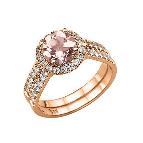 (1.50 Carat natural peach/pink VS Morganite Ring with Diamonds 14K Rose Gold Halo Double Shank Designer)
