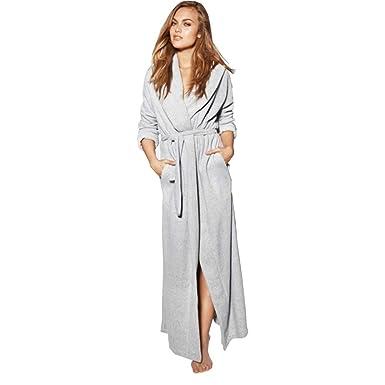 Batas de baño con Capucha, Albornoces para Mujer Largo/Color Puro Batas de baño Simple camisón,Grey Blue_XL: Amazon.es: Ropa y accesorios