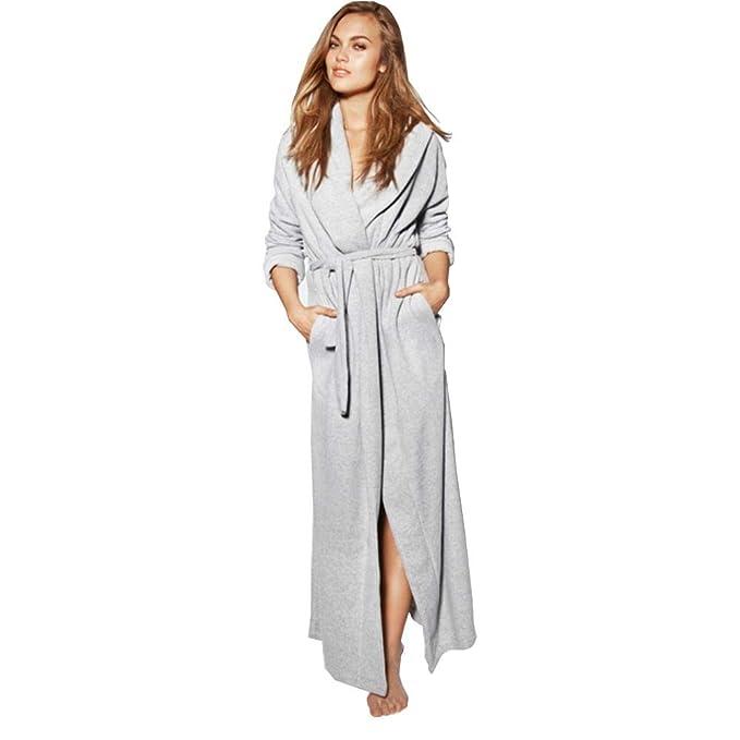 Batas de baño con Capucha, Albornoces para Mujer Largo/Color Puro Batas de baño Simple camisón: Amazon.es: Ropa y accesorios