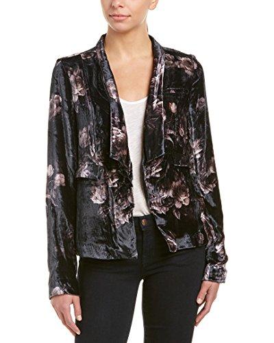 Floral Coat Silk (CHASER Women's English Roses Velvet Blazer, Floral, Medium)