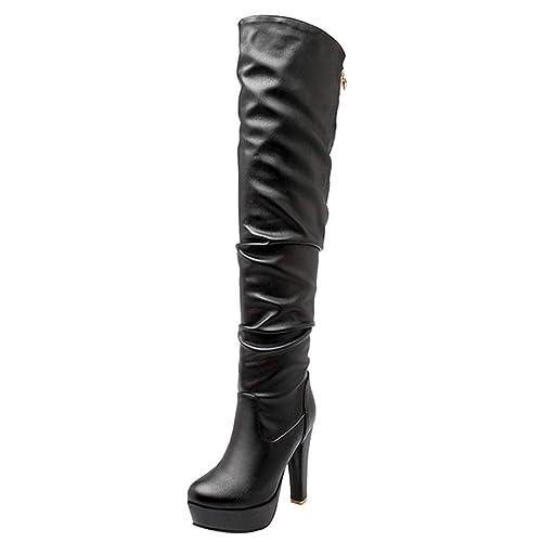 744a84317b8 Artfaerie Women s Over The Knee Slouch Boots Block High Heel Top Zipper  Ladies Platform Long Strech