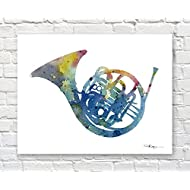 """French Horn"" Watercolor Band Music Art Print Signed by Artist DJ Rogers"