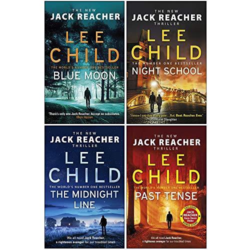 Lee Child Jack Reacher Series 5: 4 Books Set (Blue Moon [Hardcover], Night School, The Midnight Line, Past Tense)