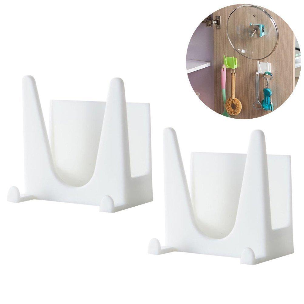 bestomz 2pcs montado en la pared de plástico cacerola tapa de olla tapa herramienta de cocina de soporte organizador estante de almacenamiento (blanco)