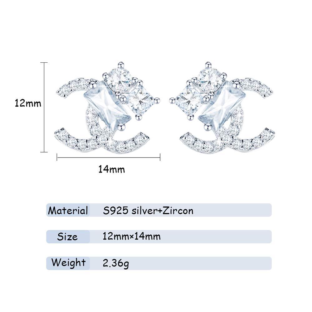 Gioielli di moda Regalo per Compleanno Natale e Feste WikiMiu Orecchini da donna in argento 925 Orecchini a doppia C