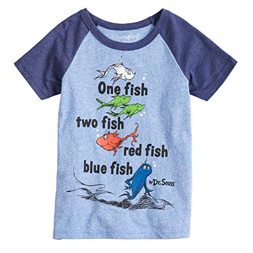 Dr Seuss Girl Characters (Jumping Beans Boys 4-10 Dr. Seuss One Fish Two Fish Raglan Graphic Tee 7 Royal)