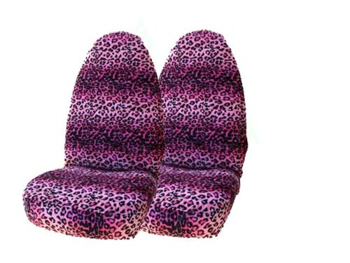A Set of 2 Universal-Fit Front Animal Print Front Bucket Seat Covers - Leopard Pink
