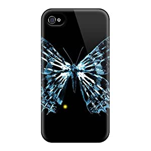For NicoleRStull Iphone Protective Case, High Quality For Iphone 4/4s Blue Butterfly Skeleton Skin Case Cover