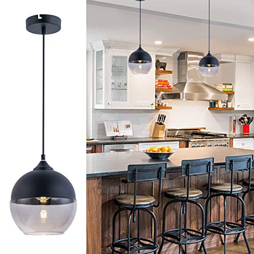 Bewamf Foyer Contemporary Chandelier Pendant Lights 1-Light Loft Globe Glass Hanging Fixture for Kitchen Island Living Dining Room Bedroom Matte Black and Smoky Grey