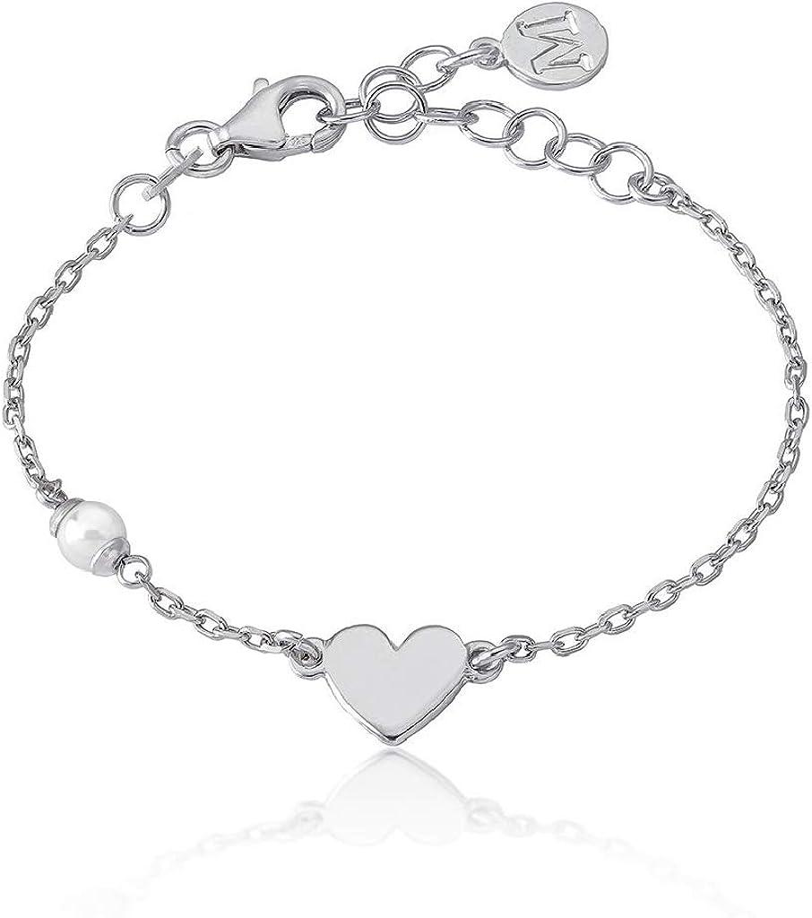 Majorica 16391.01.2.000.010.1 Pulsera Niña Plata Perla Corazón Medida 13/16 cm