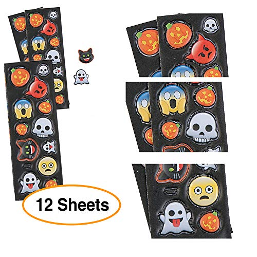 Puffy Halloween Emoji Decoration Stickers - 3 pack of 4 sheets of 13 stickers each total of 156 -