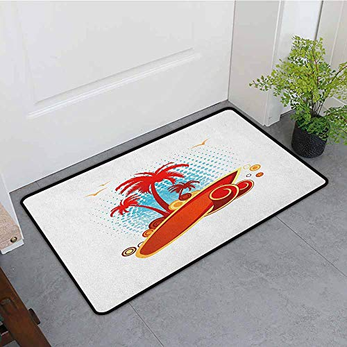 (Beach Antibacterial Doormat Exotic Halftone Background with Circles with Palms Seagulls Tropics Mildew Proof W15 x L23 Vermilion Pale Blue Yellow )