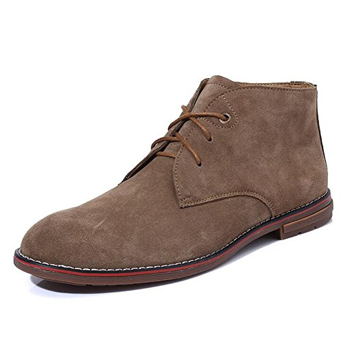 PP FASHION Mens Western Casual Style High Top Leather Suede Martin Boots Desert Shoes Tan