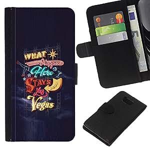 Be-Star la tarjeta de Crédito Slots PU Funda de cuero Monedero caso cubierta de piel Para Samsung ALPHA G850 ( Las Vegas Stays In Happens Blue Lights )