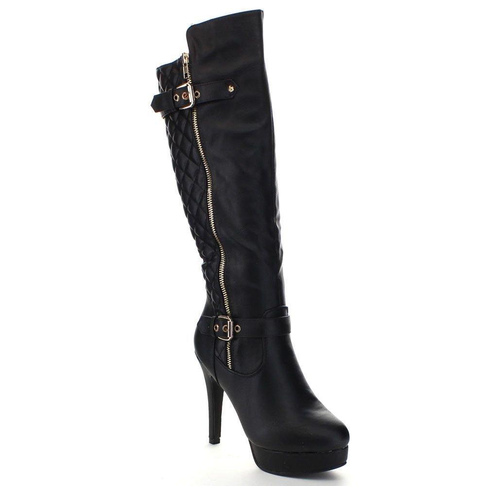 Top Moda Win-6 Women's Quilted Knee-high Stiletto Heel Platform Boots (6, Black)