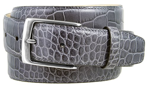 - Joseph Nickel Finish Buckle Italian Leather Alligator Dress Belt 1-3/8 Wide (Alligator Gray, 34)