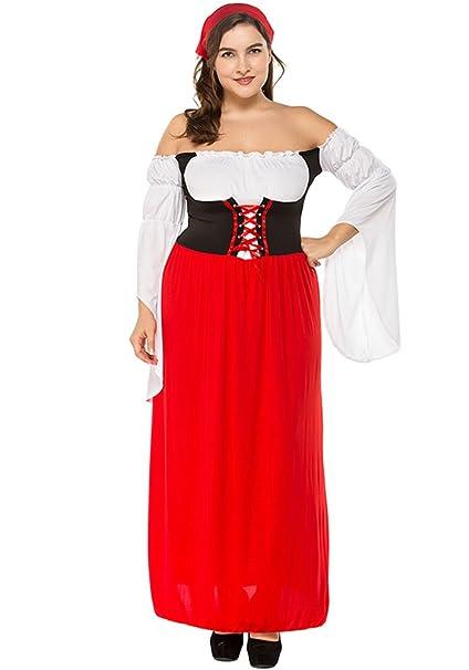 XFentech Vestido de Dirndl para Mujeres gordas,Traje alemán de Oktoberfest, Trajes de Lujo
