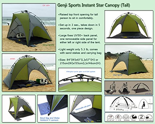 quality design aa7f6 cd80b Genji Sports Star Canopy Instant Beach Sun Shelter, Green/Beige, One Size