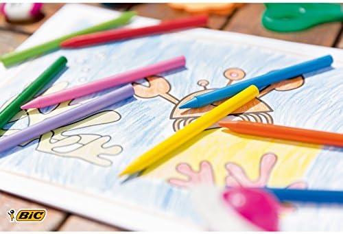 BIC Kids Plastidecor - Blíster de 18 unidades, ceras para colorear, colores surtidos: Amazon.es: Oficina y papelería