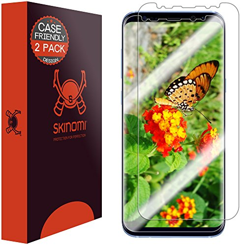 Skinomi TechSkin [2-Pack] (Case Compatible) Clear Screen Protector for Samsung Galaxy S8 Plus (Updated Design)(TPU Not Glass)(Wet Application) Anti-Bubble HD TPU Film