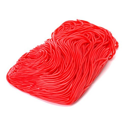 Red Strawberry Licorice Laces (Shoe String) 1LB Bag (Pull Fruit 3')