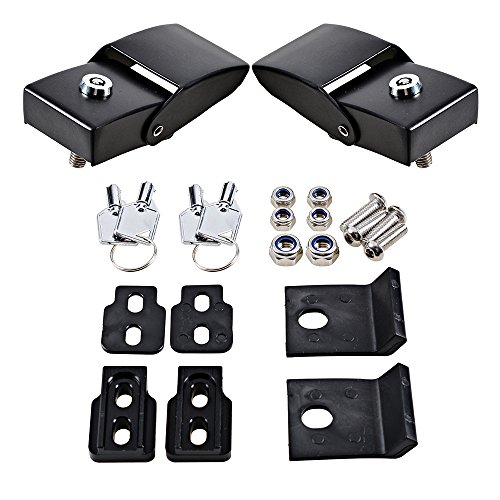 Astra Depot Black Metal Locking Hood Look Catch Latches Kit + Keys For Jeep Wrangler JK & Unlimited 2007-2017