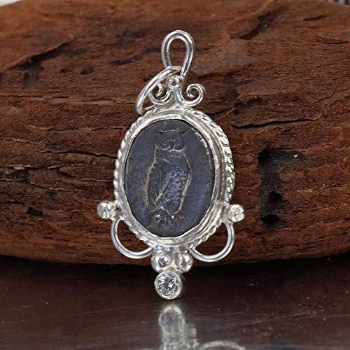 Omer Oxidized Owl Coin Pendant Handmade Ancient Roman Art 925 k Sterling Silver