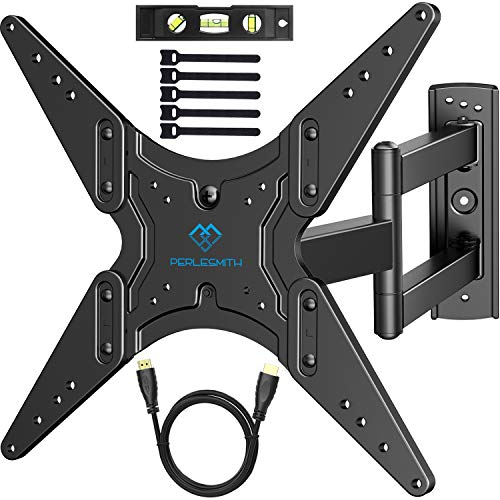 PERLESMITH TV Wall Mount for Most 26-55 Inch TVs with Swivel & Extend 18.5 Inch - Wall Mount TV Bracket VESA 400x400 Fits LED, LCD, OLED Flat Screen TVs Up to 88 lbs - with HDMI Cable, Bubble Level (Phillips Tv Lcd 47)