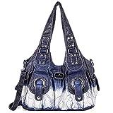 Handbag Hobo Women Bag Roomy Multiple Pockets Street ladies' Shoulder Bag Fashion PU Tote Satchel Bag for Women (XS160191Z blue)
