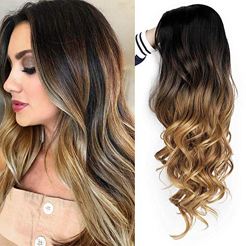 AISI QUEENS Brown Ombre Wigs Long Curly Side Part Wig 2 Tone Black to Brown Wavy Wigs for Women Synthetic Heat Resistant Party Wigs Natural Looking