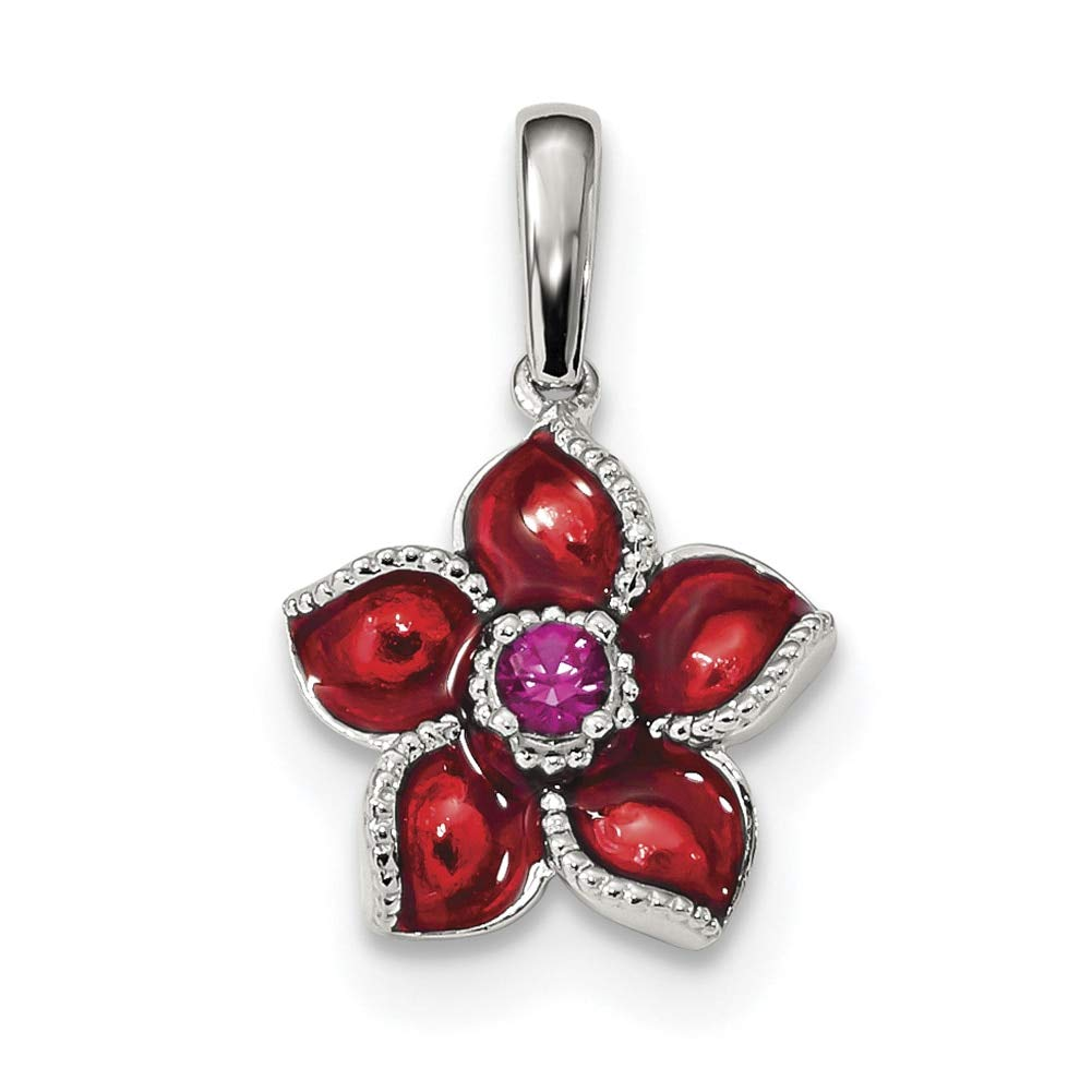 Lex /& Lu Sterling Silver Created Ruby and Enamel Flower Pendant LAL107561