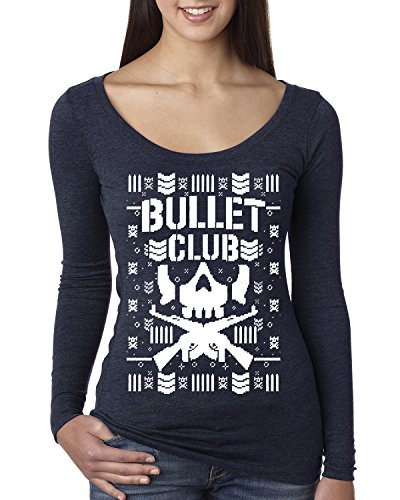 Bullet Club | Wrestling Bone Soldier | Womens Ugly Christmas Scoop Long Sleeve Top Graphic Shirt, Vintage Navy, X-Large by Wild Bobby